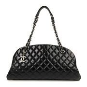 Quilted Mademoiselle Bowling Chain Bag Black Silver Hardware Womenand039s