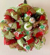 Deco Mesh Christmas Wreath, Whimsical Snowman Door Decor, Lime Green And Red
