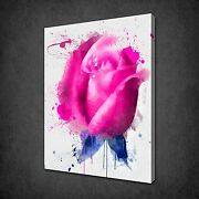 Pink Rose Paint Splatter Flower Canvas Wall Art Print Picture Ready To Hang