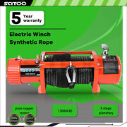 13000lb Electric Recovery Winch Towing Truck Suv Wireless Remote Orange 12v Ip68