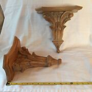 Pr Carved Light Finish Wood Glazed Wall Shelf 2 Sconces Italy French Country