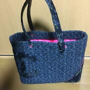 Tote Bag Cambon Line Tweed Leather Large Handbag Blue Pink Women Auth