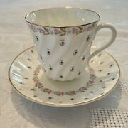 Russian Imperial Lomonosov Porcelain Tea Cup And Saucer Spring Blueberries Rare