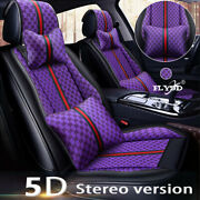 Luxury Pu Leather 5-sits Car Seat Covers Waterproof Front+rear Cushions W/pillow