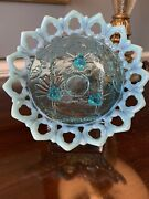 C. 1905 Sky Blue Northwood Shell And Wild Rose Opalescent Footed Flared Bowl
