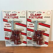2 Vintage Brink And Cotton Gluing Clamps In Box 1/2 Pipe Clamp 520bp - Sealed
