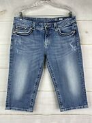 Miss Me Womenand039s Mid-rise Crop Capri Plus Size Jeans Size 33 X 17 Distressed Bke