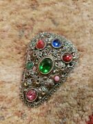 N. E. From Denmark. Vintage Large Victorian Sterling Silver Brooch Broach Rare