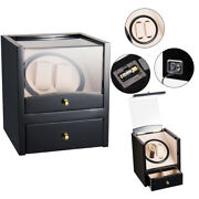 Watch Winder Display Box Automatic Rotation Storage 2 2 Grids Wooden Cases
