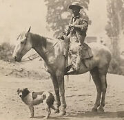 Cabinet Photo Cowboy On Horse Woolly Chaps Dog Old West Saddle Tramp Western