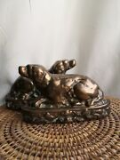 Solid Bronze Antique Hunting Dogs Setters Pointer Dog Fire Dogs Victorian