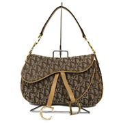 Christian Dior Double Saddle Bag Trotter Brown Canvas Gold Hardware Cd Logo Auth