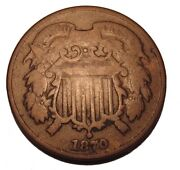 Old Us Coins 1870 Obsolete Two Cent Piece