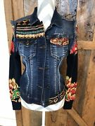 Desigual Gaelle Denim Jacket 38 Small Embellished Sequins Different Is Beautiful