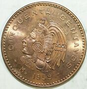 1959 Mexico Cincuenta 50 Centavos Brilliant Uncirculated ☆☆ From Mint Set ☆☆ 500