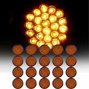 20 4 Amber Round 24 Led Trailer Truck Side Marker Clearance Lights Tail Lamp