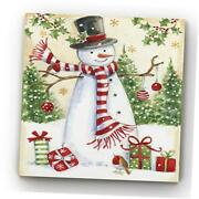 Snowman Merriment Canvas Gallery Wrapped Christmas Wall Art 32x32