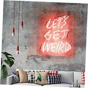 Neon Signs Let's Get Weird Pink Neon Sign For Wall Bedroom Funny Wall Sign