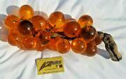 Vintage Mid Century Huge Lucite Acrylic Amber Grapes On Driftwood, 15 Long