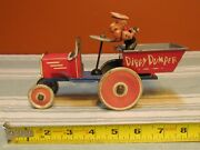 Rare 1930's Marx Wind Up Tin Litho Dippy Dumper W/ Popeyes Driving -working