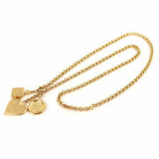 Icon Charm Long Necklace Vintage Gold 95a Heart Medal Perfume Accessory