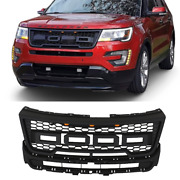 Front Grille Bumper Grill Fits For Explorer 2016-2018 W/ Letters And Lights Black