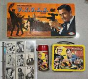 1965 The Man From Uncle U.n.c.l.e. Collection Lunch Box W/ Thermos, Game, Cards