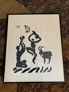 Picasso Lithograph On Paper Framed 1959 Goat Musician Dancer Bird Line Drawing