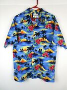 Howie Hawaiian Shirt Size L Xl 48 Chest Floral Palm Trees Outrigger Aloha