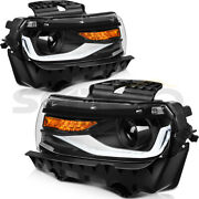 For 2014-2015 Chevrolet Camaro Black Headlights Headlamps Led Replacement Pair
