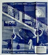 Vintage 1936 Northwest Airlines Timetable Illustrated Fold-out Brochure Chicago