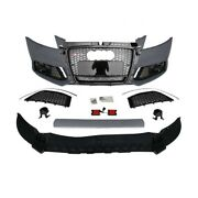 Audi A3 S3 8v Rs3 Style Front Bumper Cover + Gloss Black Grille Fits 2014-2016