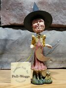 Primitive Halloween Folkart Poliwoggs Witch With Half Moon And Frog