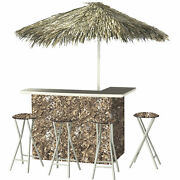 Camouflage Deluxe Portable Bar Set- Thatched Umbrella And 4 Stools