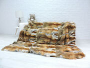 Luxury Real Red Fox Throw 24 Whole Skins King Fur Blanket Glamour Decor 567