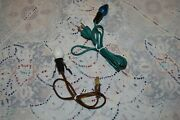 Vintage Christmas 2 Electric Light Cords One With Wire Wing Holder Leviton