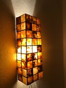 A Pair Of Rare Large Wall Sconces Mother Of Pearl Mid Century Modern 1960s