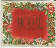 Vintage Christmas Pine Cone White Red Holly Berry Flower Noel Gold Greeting Card
