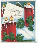 Vintage Christmas Red Snow Covered Candles Holly Berry Grandfather Greeting Card