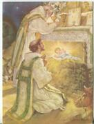 Vintage Christmas St. Francis Of Assisi Holy Communion Jesus Art Greeting Card