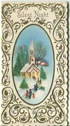 Vintage Christmas Cameo Church Snow Gold Silver Scroll Design Embossed Art Card