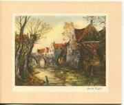 Vintage Christmas Country Village Bare Trees Jules Emile Dupre Mcm Greeting Card
