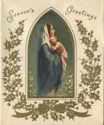 Vintage Christmas Virgin Mary And Christ Christ G. Vicentini Gold Greeting Card