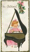 Vintage Christmas Pink Angel Cherub Piano Bell Holly Gold Embossed Greeting Card