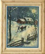 Vintage Christmas House Country Full Moon Bring Home Tree Dog Snow Greeting Card