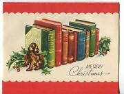 Vintage Christmas Irish Setter Dog Bookend Holly Berry Mid Century Greeting Card