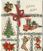 Vintage Christmas Tree Ornaments Stocking Bells Presents Silver Greeting Card