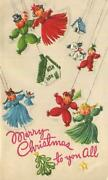Vintage Christmas Yarn Dolls Puppy Dog Mid Century Puppets Emboss Greeting Card