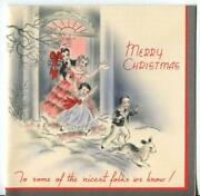 Vintage Christmas Pink Gray Red Silver Victorian Family Children Dog Snow Card