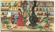 Vintage Christmas Victorian General Country Store Candy Tea Pot Dog Dolls Card